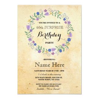 60. Geburtstags-Party rustikaler Blumenwreath 12,7 X 17,8 Cm Einladungskarte