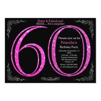 60., Geburtstags-Party, sechzig, Gatsby, schwarzes 12,7 X 17,8 Cm Einladungskarte