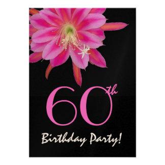 60. Geburtstags-Schablonen-Rosa-Blume Ankündigungen