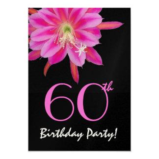 60. Geburtstags-Schablonen-Rosa-Blume 12,7 X 17,8 Cm Einladungskarte