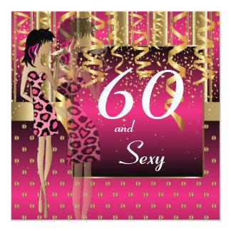 60. Geburtstags-Schlag-Party Quadratische 13,3 Cm Einladungskarte