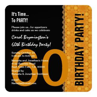 60. Geburtstags-Schwarzes und Gold mit Spitze V02 Quadratische 13,3 Cm Einladungskarte