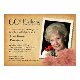 60. Geburtstags-Vintage Gänseblümchen-Foto-Einladu Einladungen
