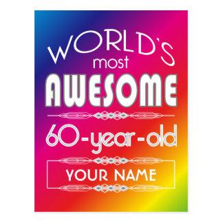 60. Geburtstags-Weltbester fabelhafter Regenbogen Postkarte