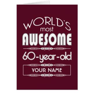 60. Geburtstags-Weltgut fabelhaftes dunkelrotes Karte
