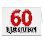 60 gerade ist eine Zahl-Geburtstags-Karte