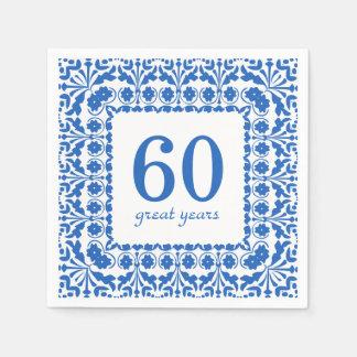 60 große Jahr-blauer und weißer Papierserviette
