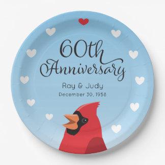 60. Hochzeits-Jahrestag, Kardinal und Herzen Pappteller
