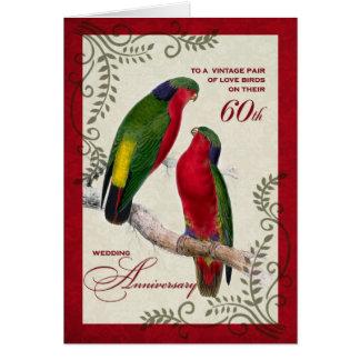 60. Hochzeits-Jahrestag Vintage Lorikeet Papageien Karte