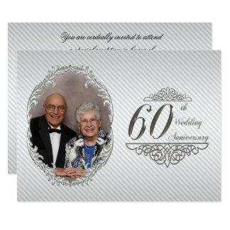 60. Hochzeits-Jahrestags-Foto-Einladungs-Karte Karte