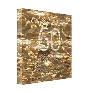 60. Hochzeitstag-Diamant-Hochzeits-Goldblick Leinwanddruck