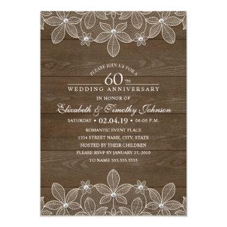 60. Hochzeitstag-rustikale hölzerne Land-Spitze Karte