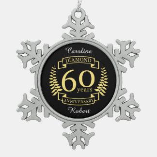 60. Hochzeitstagdiamantgelb Schneeflocken Zinn-Ornament