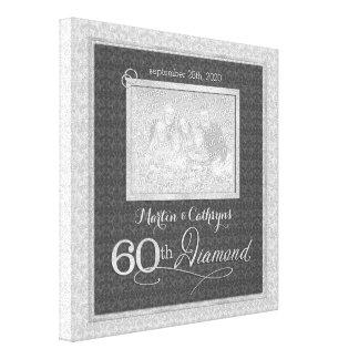60. Jahrestag - personalisiertes Foto 11x11 Leinwand Druck