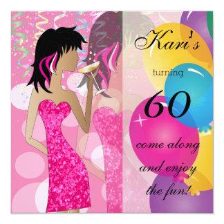 60. Rosa Girly Geburtstags-Party-heftiger Schlag Quadratische 13,3 Cm Einladungskarte