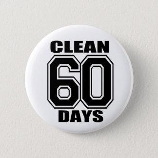 60 Tage säubern Schwarzes Runder Button 5,1 Cm