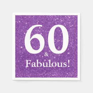 60 u. fabelhaftes! Lila Glitzer-sechzigster Papierserviette