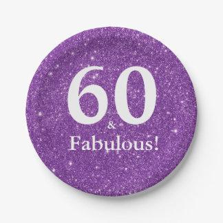 60 u. fabelhaftes! Lila Glitzer-sechzigster Pappteller