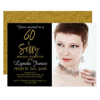 60 und freche Goldfolien-Geburtstags-Einladung 12,7 X 17,8 Cm Einladungskarte