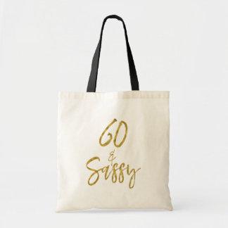 60 und Sassy Goldfolien-Geburtstags-Taschen-Tasche Tragetasche