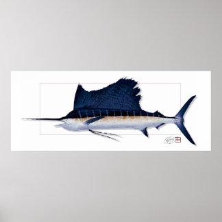 """60"""" WEIT pazifischer Segelfisch Textureprint! Poster"""