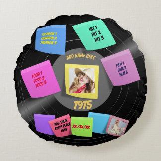 60er-70er Foto-Retro Vinylaufzeichnungs-Gewohnheit Rundes Kissen