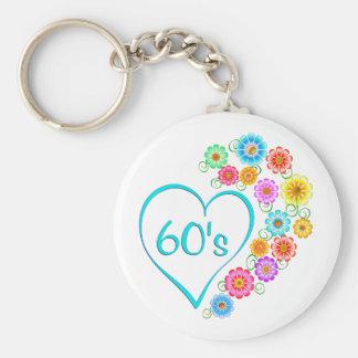 60er Herz und Blumen Schlüsselanhänger