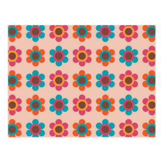 60er u. 70er Art-Funky Retro Kunst-Muster Postkarte