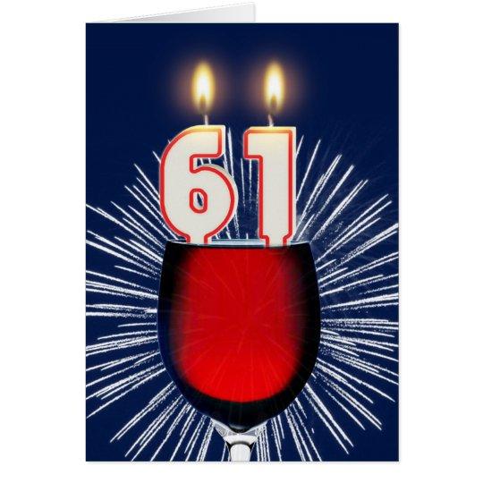 61. Geburtstag mit Wein und Kerzen Karte