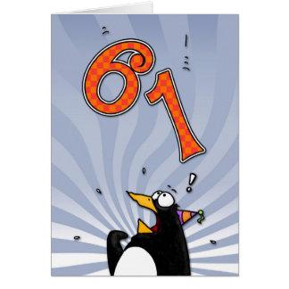 61. Geburtstag - Pinguin-Überraschungs-Karte Grußkarte