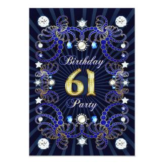 61. Geburtstags-Party laden mit Massen der Juwelen 12,7 X 17,8 Cm Einladungskarte