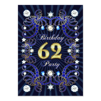 62. Geburtstags-Party laden mit Massen der Juwelen 12,7 X 17,8 Cm Einladungskarte