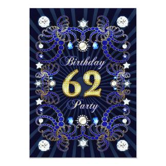 62. Geburtstags-Party laden mit Massen der Juwelen Einladungskarte