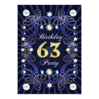 63. Geburtstags-Party laden mit Massen der Juwelen 12,7 X 17,8 Cm Einladungskarte
