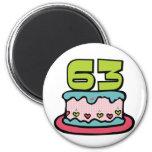 63 Jährig-Geburtstags-Kuchen Kühlschrankmagnet