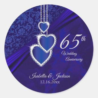 65./45. Saphir-Hochzeitstag-Entwurf Runder Aufkleber