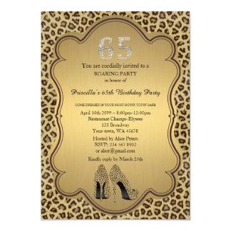 65., Geburtstags-Party 65., Cheetah-hohe Karte