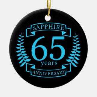 65. Hochzeitstag SAPHIR Rundes Keramik Ornament