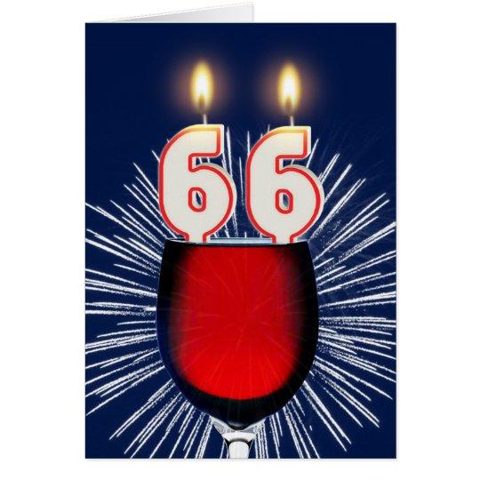 66. Geburtstag mit Wein und Kerzen Grußkarte