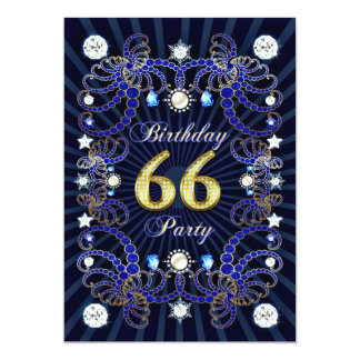 66. Geburtstags-Party laden mit Massen der Juwelen 12,7 X 17,8 Cm Einladungskarte