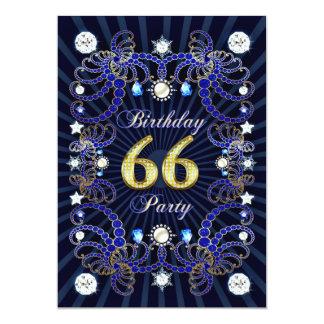 66. Geburtstags-Party laden mit Massen der Juwelen Individuelle Ankündigskarten