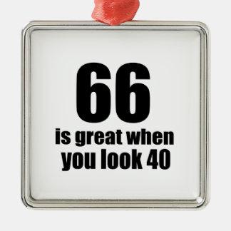 66 ist groß, wenn Sie Geburtstag schauen Silbernes Ornament