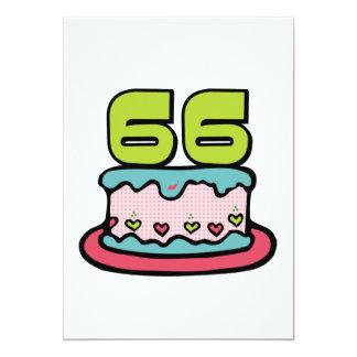 66 Jährig-Geburtstags-Kuchen 12,7 X 17,8 Cm Einladungskarte