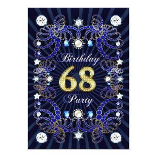 68. Geburtstags-Party laden mit Massen der Juwelen 12,7 X 17,8 Cm Einladungskarte