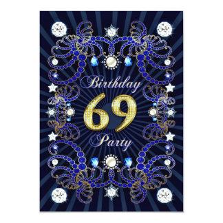 69. Geburtstags-Party laden mit Massen der Juwelen 12,7 X 17,8 Cm Einladungskarte