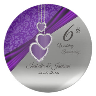 6. Amethyst lila Hochzeits-Jahrestags-Andenken Melaminteller
