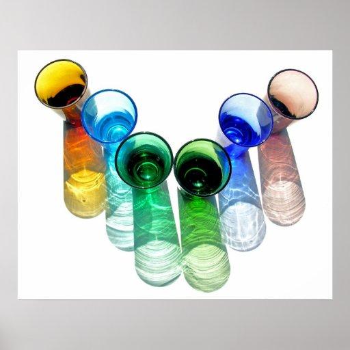 6 farbige Cocktail-Schnapsglas e-ähnlich 12 Plakatdruck