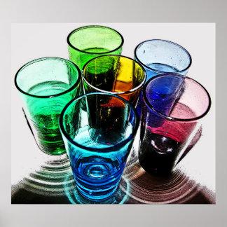 6 farbige Cocktail-Schnapsglas e-ähnlich 16 Posterdrucke