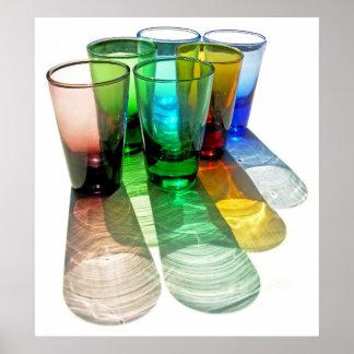 6 farbige Cocktail-Schnapsglas e-ähnlich 18 Posterdrucke