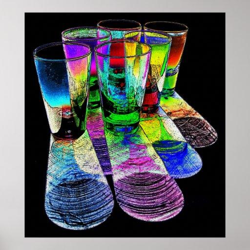 6 farbige Cocktail-Schnapsglas e-ähnlich 6 Plakatdruck